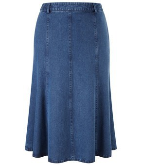 Skirt - LADIES INDIGO CHAMBRAY PANELLED SKIRT - CC