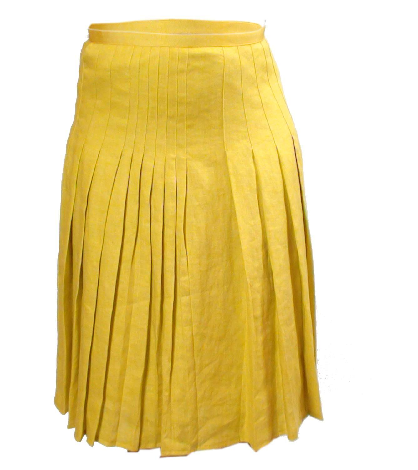 LADIES YELLOW PLEAT DETAIL PURE LINEN SKIRT - Give UK - Ninostyle