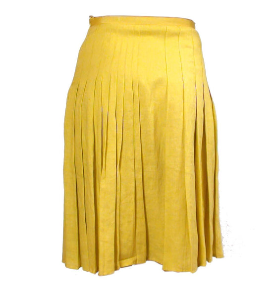Skirt - LADIES YELLOW PLEAT DETAIL PURE LINEN SKIRT - Give UK
