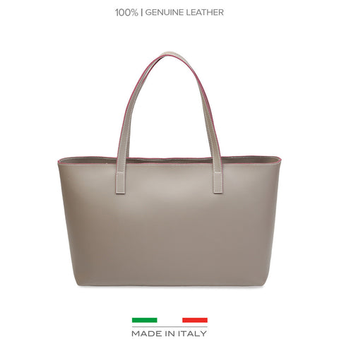 Made In Italia Leather Camila Shopping Bag - Taupe