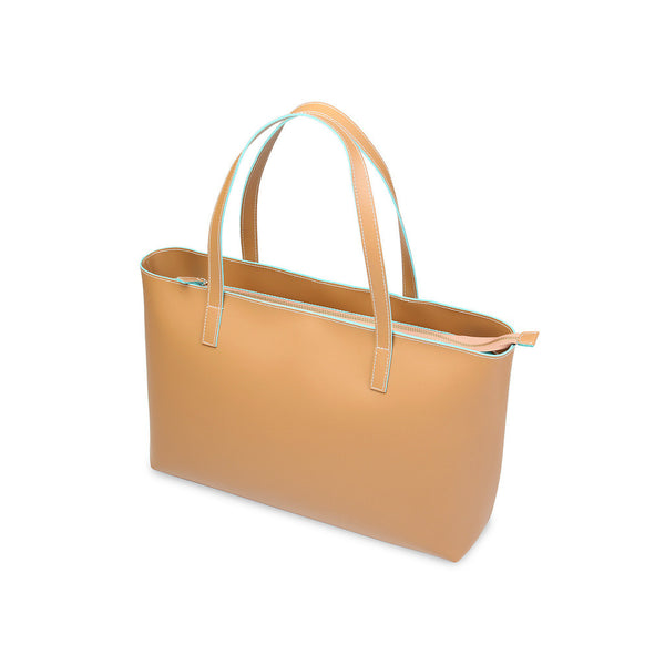 Made In Italia Leather Camilla Shopping Bag - Honey