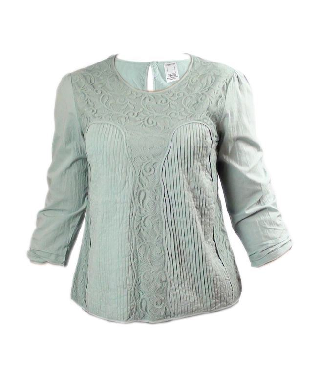 LADIES PINTUCK/LACE PANEL DETAIL LONG SLEEVE TUNIC TOPS - Ninostyle