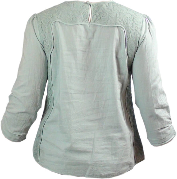 Tops - Ladies - LADIES PINTUCK/LACE PANEL DETAIL LONG SLEEVE TUNIC TOPS