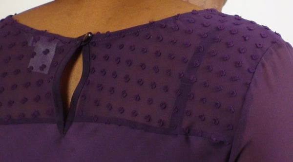 Tops - Ladies - LADIES PURPLE TWISTED NECK EMBOSSED SPOT/CHIFFON BACK NECK - Unbranded