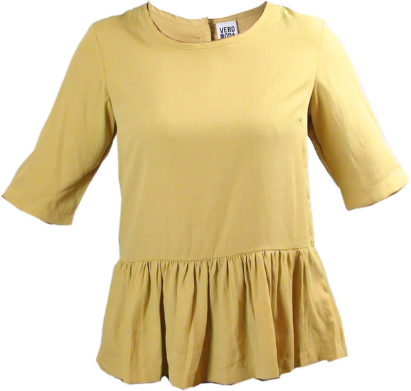 Tops - Ladies - Yellow Button Through Back Peplum Top - Vero Moda