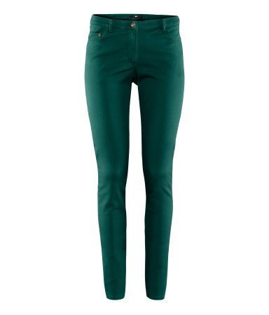 Trousers - Women - Slim Pants - Women - Green - H&M
