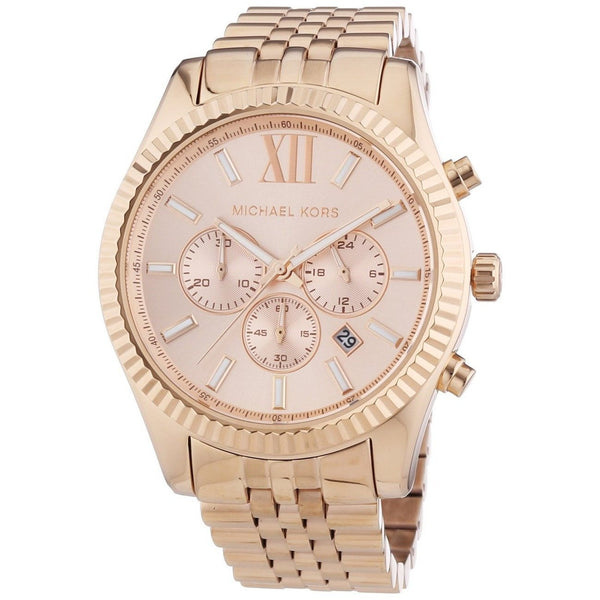 Wrist Watch - Ladies - Michael Kors MK8319 Lexington Chronograph Rose Dial Rose Gold-plated Watch