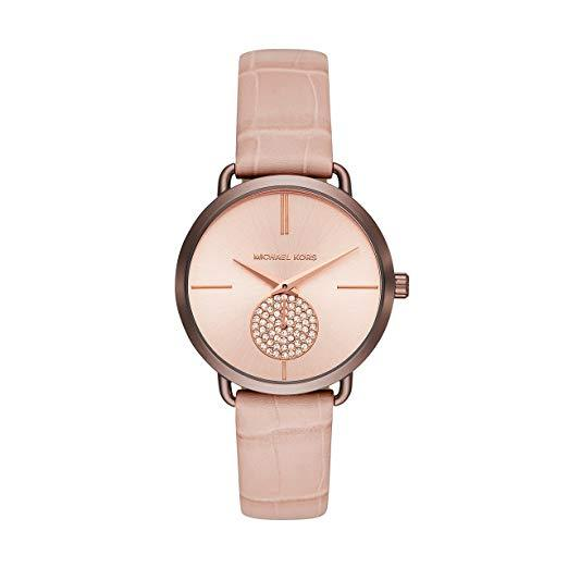 Wrist Watch - Ladies - MK - Portia Rose Gold-toned Stainless Steel And Leather Watch