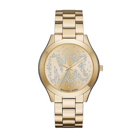Wrist Watch - Ladies - MK - Slim Runway Ladies Gold Tone Crystal Watch