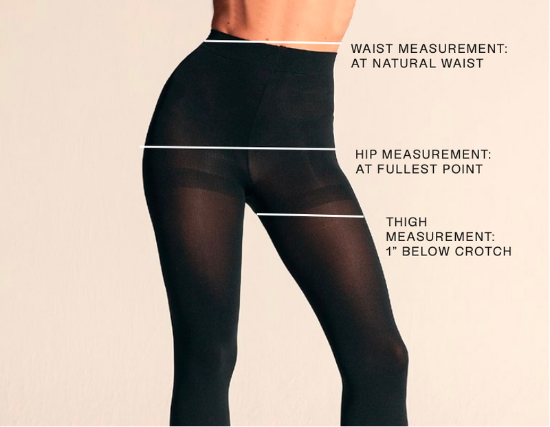 "WAIST MEASUREMENT: AT NATURAL WAIST, HIP MEASUREMENT: AT FULLEST POINT, THIGH MEASUREMENT:          1"" BELOW CROTCH"