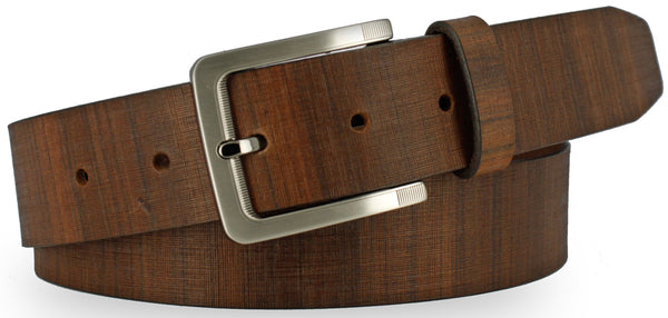 Brown Italian leather painted with vertical lines to resemble wood. Similarly colored belt with horizontal lines and brushed nickel buckle.