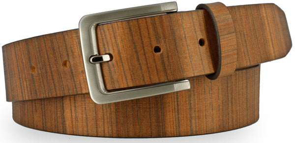 Tan Italian leather painted with vertical lines to resemble wood. Similarly colored belt with horizontal lines and brushed nickel buckle.