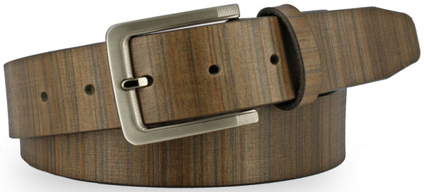 Grey Italian leather painted with vertical lines to resemble wood. Similarly colored belt with horizontal lines and brushed nickel buckle.
