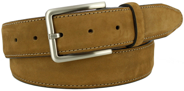 Tan suede with a contrasting stitch. Matching loop and brushed nickel buckle.