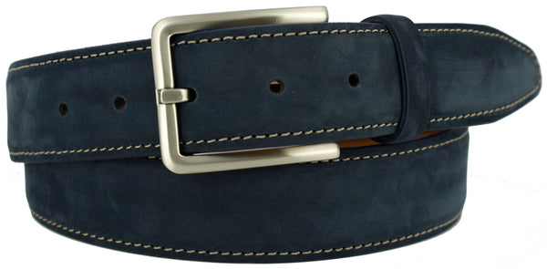 Navy blue suede with a contrasting stitch. Matching loop and brushed nickel buckle.