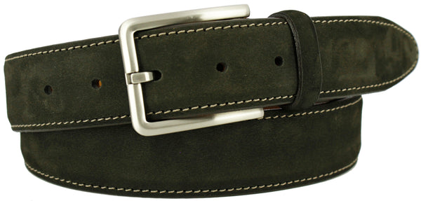 Brown suede with a contrasting stitch. Matching loop and brushed nickel buckle.