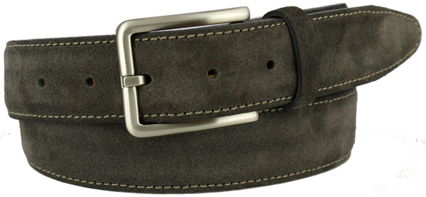 Grey suede with a contrasting stitch. Matching gray loop and brushed nickel buckle.