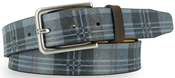 Blue leather with black and red plaid pattern. The buckle is brushed nickel and the loop is a dark brown leather.