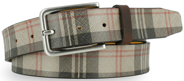 Cream leather with black and red plaid pattern. The buckle is brushed nickel and the loop is a dark brown leather.