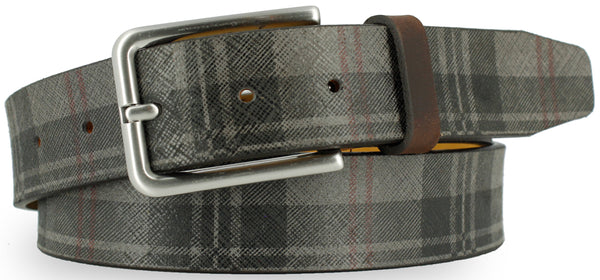 Charcoal leather with black and red plaid pattern. The buckle is brushed nickel and the loop is a dark brown leather.