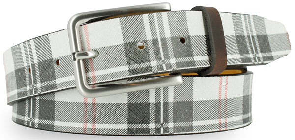 White leather with black and red plaid pattern. The buckle is brushed nickel and the loop is a dark brown leather.