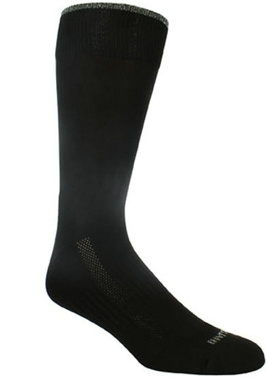 Solid black sock with heather grey rim.