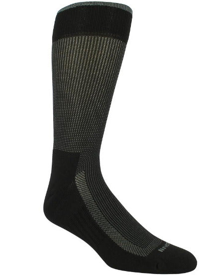 Black sock with grey stitching. Solid black toe, sole, heel, and loop at the top of the sock.