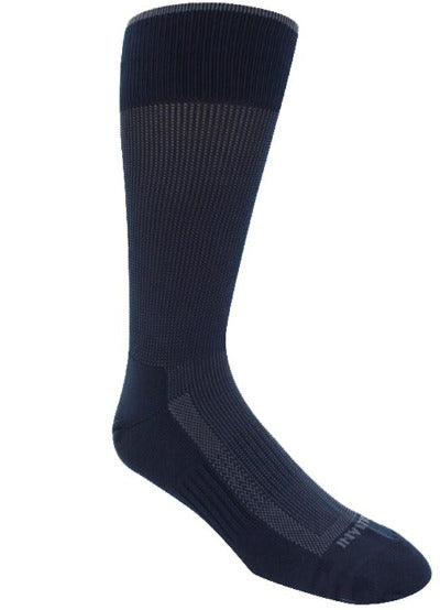 Navy sock with blue stitching. Solid navy toe, sole, heel, and loop at the top of the sock.