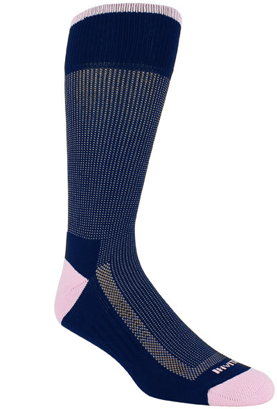 Navy sock with pink stitching. Solid pink rim, toe and heel. Solid navy loop at the top of the sock and sole.