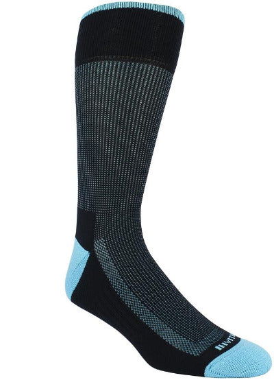 Black sock with light blue stitching. Solid light blue toe and heel. Solid black sole and loop at the top of the sock.