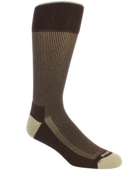 Brown sock with tan stitching. Solid tan toe and heel. Solid brown sole and loop at the top of the sock.