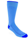 Sky blue sock with blue stitching. Solid blue rim, toe and heel.