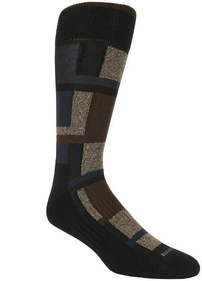 Black socks with brown, tan, and navy blocks of varying sizes.