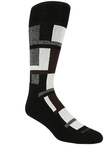 Black socks with brown, heather grey, and white blocks of varying sizes.