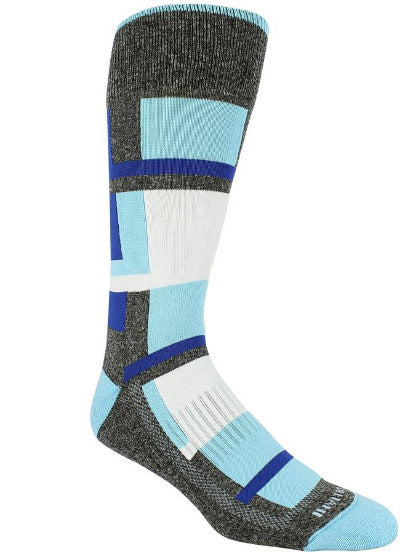 Heather grey sock with white, sky blue, and blue blocks. Sky blue toe, heel, and rim.