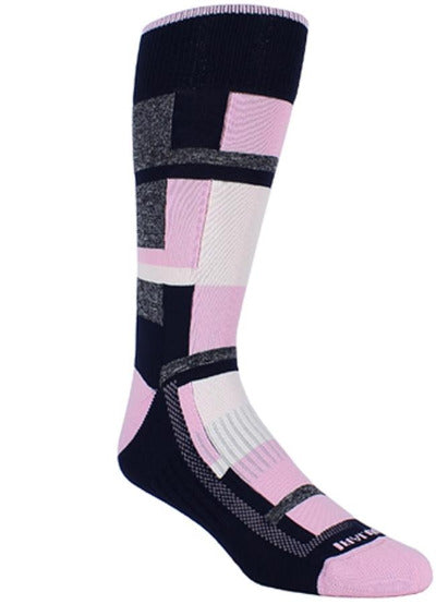 Navy socks with heather grey, pink, and white blocks of varying sizes. Pink toe, heel, and rim.