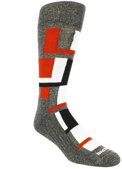 Heather grey sock with white, black, and red blocks.