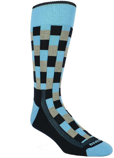 Black sock with sky blue band checkered black blocks with heather grey and sky blue interlaced. Sky blue toe and heel.