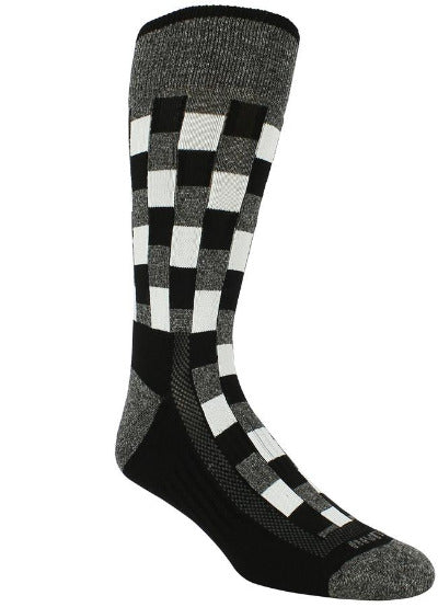 Black sock with heather grey band checkered black blocks with heather grey and white interlaced. Heather grey toe and heel.