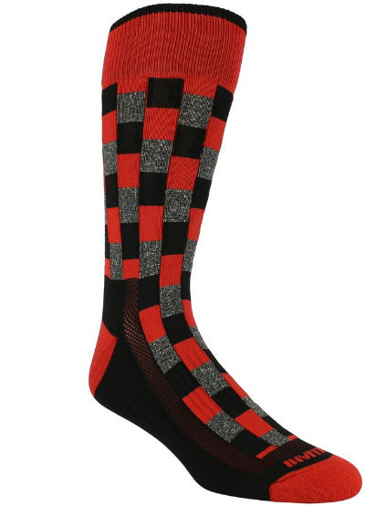 Black sock with red band checkered black blocks with red and heather grey interlaced. red toe and heel.