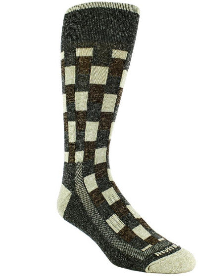 Heather grey sock with heather grey band checkered taupe blocks with heather grey and brown interlaced. Taupe toe and heel.