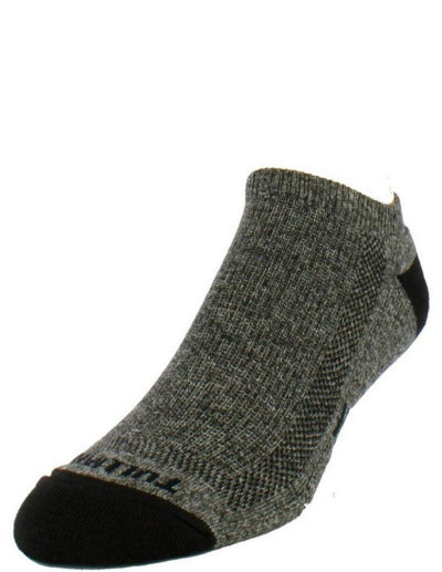 Heather grey sock with black toe and heel. Tulliani name stitched beneath the toe in black.