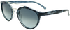 tortoise shell blue to clear round frame sunglasses with ash grey mirror lenses