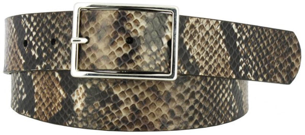 Brown and black coiled snake skin printed leather women's belt. Polished nickel buckle
