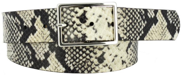 White and black coiled snake skin printed leather women's belt. Polished nickel buckle