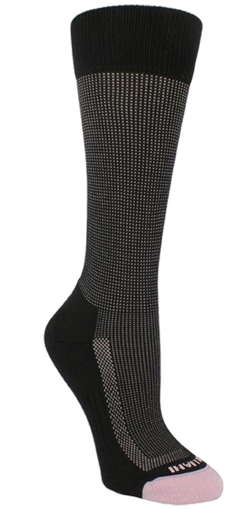 Black sock with pink stitching. Band, heel, and arch are solid black. Toes are pink. Tulliani is stitched beneath the toes in pink