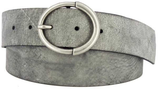 Grey coiled belt with a cracked and worn look to the leather. Oval shaped center bar buckle in antiqued nickel