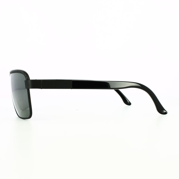 Side profile of black glasses with leather over lenses.