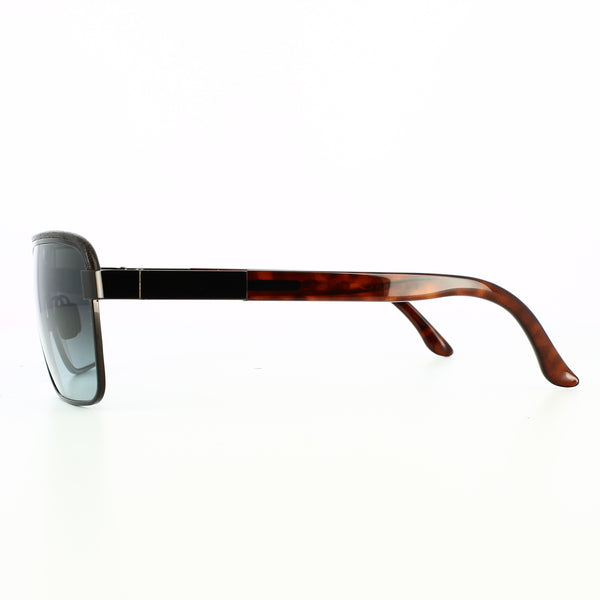 Side view of black lenses with black leather and tortoise shell temple