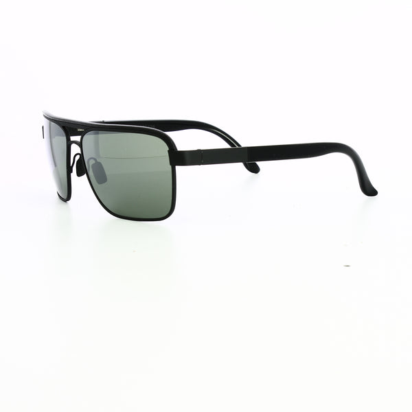 Side profile of polarized lenses in black with black leather rim.